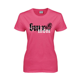 Ladies Fuchsia T Shirt-BMX Mom