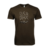 Next Level SoftStyle Brown T Shirt-Brown USA BMX Chain Letters
