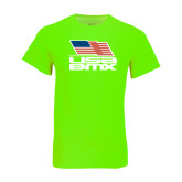 Neon Green T Shirt-Flag on Stacked USA BMX