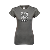 Ladies Softstyle Junior Fitted Charcoal Tee-Black USA BMX Chain Letters