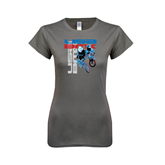 Ladies Softstyle Junior Fitted Charcoal Tee-USA BMX w/2 Riders