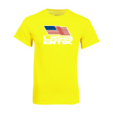 Neon Yellow T Shirt-Flag on Stacked USA BMX