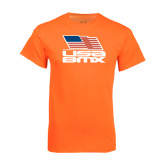 Neon Orange T Shirt-Flag on Stacked USA BMX
