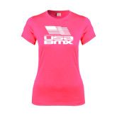 Ladies Performance Hot Pink Tee-Flag on Stacked USA BMX