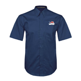 Navy Twill Button Down Short Sleeve-Flag on Stacked USA BMX