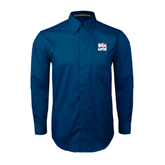 Navy Twill Button Down Long Sleeve-Riders on Stacked USA BMX