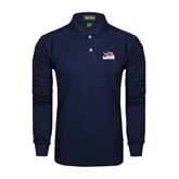 Navy Long Sleeve Polo-Flag on Stacked USA BMX