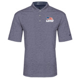 Nike Golf Dri Fit Navy Heather Polo-Flag on Stacked USA BMX