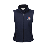 Ladies Fleece Full Zip Navy Vest-Flag on Stacked USA BMX