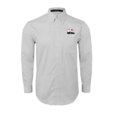White Twill Button Down Long Sleeve-Riders on Stacked BMX Canada