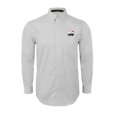 White Twill Button Down Long Sleeve-Riders on Stacked USA BMX