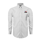 Mens White Oxford Long Sleeve Shirt-Flag on Stacked USA BMX