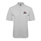 White Easycare Pique Polo-Flag on Stacked USA BMX