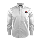 Red House White Dobby Non Iron Long Sleeve Shirt-Flag on Stacked USA BMX