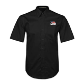 Black Twill Button Down Short Sleeve-Flag on Stacked USA BMX