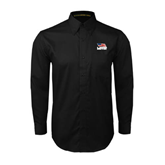 Black Twill Button Down Long Sleeve-Flag on Stacked USA BMX