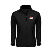 Ladies Black Softshell Jacket-Flag on Stacked USA BMX