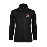 Ladies Fleece Full Zip Black Jacket-Flag on Stacked USA BMX