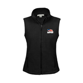 Ladies Fleece Full Zip Black Vest-Flag on Stacked USA BMX