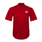 Red Twill Button Down Short Sleeve-Flag on Stacked USA BMX