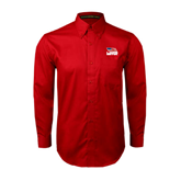 Red Twill Button Down Long Sleeve-Flag on Stacked USA BMX