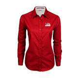 Ladies Red Twill Button Down Long Sleeve-Flag on Stacked USA BMX