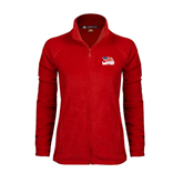 Ladies Fleece Full Zip Red Jacket-Flag on Stacked USA BMX