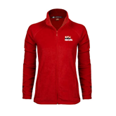 Ladies Fleece Full Zip Red Jacket-Riders on Stacked BMX Canada