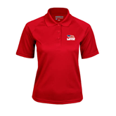 Ladies Red Textured Saddle Shoulder Polo-Flag on Stacked USA BMX