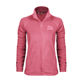 Ladies Fleece Full Zip Raspberry Jacket-Flag on Stacked USA BMX