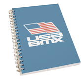 Clear 7 x 10 Spiral Journal Notebook-Flag on Stacked USA BMX