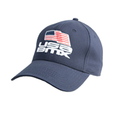 Navy Heavyweight Twill Pro Style Hat-Flag on Stacked USA BMX