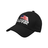 Black Heavyweight Twill Pro Style Hat-Flag on Stacked USA BMX