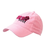 Pink Twill Unstructured Low Profile Cap-White BMX Babe