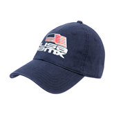 Navy Twill Unstructured Low Profile Hat-Flag on Stacked USA BMX