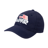 Navy Flexfit Unstructured Low Profile Hat-Flag on Stacked USA BMX