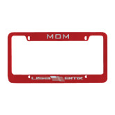 Mom Metal Red License Plate Frame-USA BMX w/Flag In Between Engraved