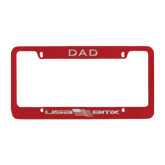 Dad Metal Red License Plate Frame-USA BMX w/Flag In Between Engraved
