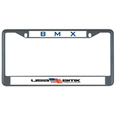 Metal License Plate Frame in Black-USA BMX w/Flag In Between