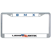Metal License Plate Frame in Chrome-USA BMX w/Flag In Between