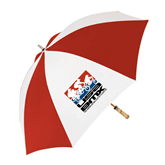 62 Inch Red/White Umbrella-Riders on Stacked USA BMX