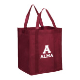 Non Woven Maroon Grocery Tote-Stacked Alma