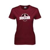 Ladies Maroon T Shirt-Soccer Design