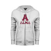 ENZA Ladies White Fleece Full Zip Hoodie-Stacked Alma