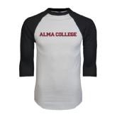 White/Black Raglan Baseball T-Shirt-Alma College