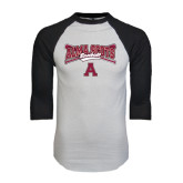 White/Black Raglan Baseball T-Shirt-Baseball Bats Design