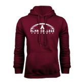 Maroon Fleece Hoodie-Football Design