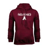Maroon Fleece Hoodie-Track and Field Stacked Design