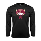 Performance Black Longsleeve Shirt-Softball Design