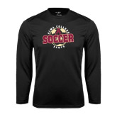 Performance Black Longsleeve Shirt-Soccer Design